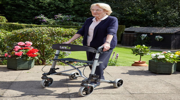 Elderly lady with walker